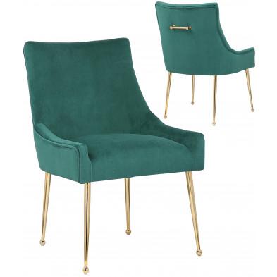 Lot de 2 Chaises de salle à manger design revêtement en velours vert foncé avec poignet à l'arriere et piètement en acier doré collection JERSEY
