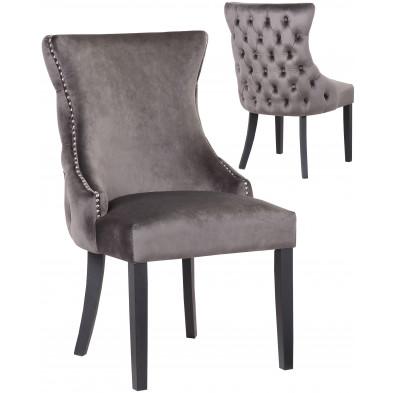 Lot de 2 Chaises de salle à manger contemporain avec capitonnage à l'arriere revetement en velour gris foncé et piètement en bois massif noir collection BOSTON