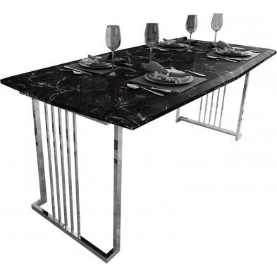 Table à manger design avec plateau en bois 100% mdf laqué imitation marbre noir et piètement en acier chromé argenté 190x96cm collection Angel