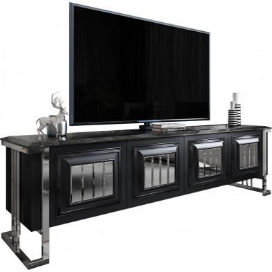 Meuble tv design plateau en imitation marbre noir en bois 100% mdf avec des miroirs fumé sur les portes et un piètement en acier chromé argenté 208cm collection Angel