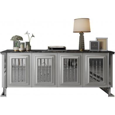 Buffet design 4 portes en bois 100% mdf laqué blanc et plateau en imitation marbre noir avec piètement en acier chromé argenté 208cm collection Angel