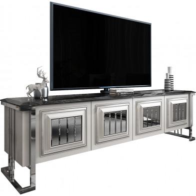 Meuble tv design plateau en imitation marbre noir en bois 100% mdf laqué blanc avec des miroirs fumé sur les portes et un piètement en acier chromé argenté 208cm collection Angel