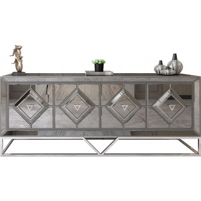 Bahut design 4 portes en bois 100% laqué gris clair avec des miroirs fumé sur les contours et un piètement en acier chromé argenté 209cm collection Lexus