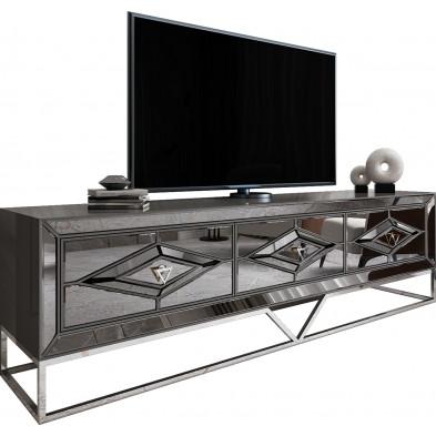 Meuble tv design 3 tiroirs en bois 100% laqué gris clair avec des miroirs fumé sur les contours et un piètement en acier chromé argenté 209cm collection Lexus