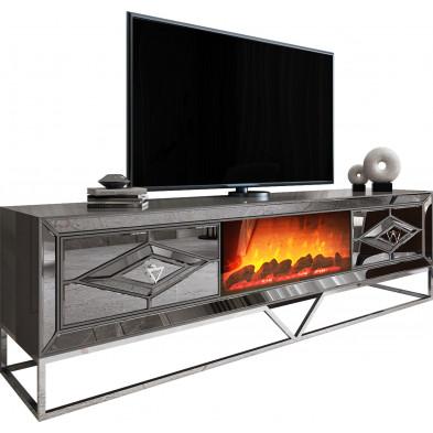 Meuble tv cheminée design 2 tiroirs en bois 100% mdf laqué gris clair avec miroir fumé et piètement en acier chromé argenté L. 225 x P. 48 x H. 66,5 cm collection Lexus