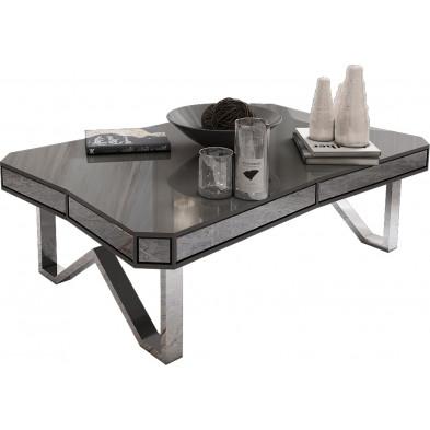 Table basse design plateau en bois MDF et miroir gris fumé avec piètement en acier argenté   L. 130 x P. 80 x H. 40 cm collection LEXUS