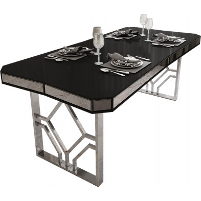 Table de salle à manger design en bois MDF noir avec piètement en acier argenté L. 195 x P. 91.5 x H. 76.5 cm collection LEXUS