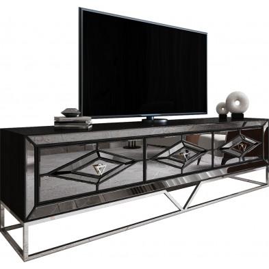 Meuble tv cheminée design 2 tiroirs en miroir noir fumé avec piètement en acier chromé argenté L. 208 x P. 48 x H. 66 cm collection Monaco