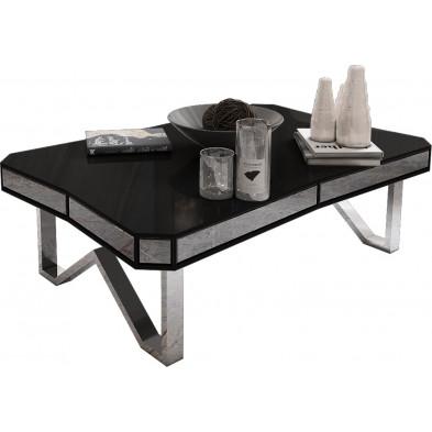 Table basse design plateau en noir laqué avec contour miroir fumé et piètement en acier chromé argenté 130x80cm collection Lexus