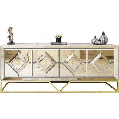 Bahut design 4 portes en bois MDF laqué beige avec miroir bronze et un piètement en acier doré L. 209 x P. 48 x H. 85 cm collection LEXUS