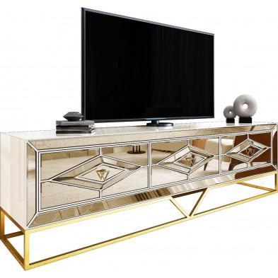 Meuble tv design 3 tiroirs en bois mdf laqué beige et miroir bronze avec piètement en acier chromé doré L. 208 x P. 48 x H. 66 cm collection Monaco