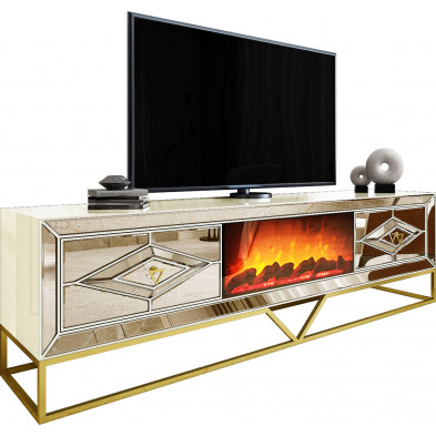 Meuble tv cheminée design 2 tiroirs en bois mdf laqué beige et miroir bronze avec piètement en acier chromé doré L. 225 x P. 48 x H. 66,5 cm collection Monaco