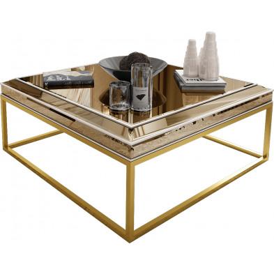 Table basse design plateau en miroir bronze avec piètement en acier chromé doré 100x100cm collection Monaco