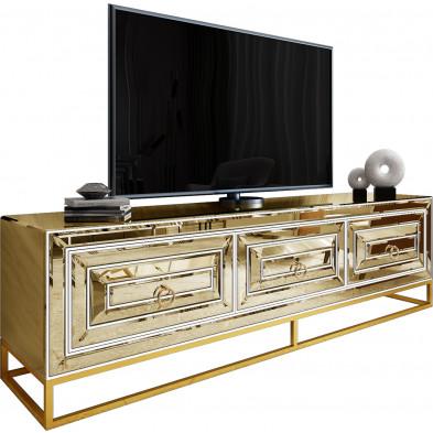 Meuble tv design 3 tiroirs en miroir bronze avec piètement en acier chromé doré L. 208 x P. 48 x H. 66 cm collection Monaco