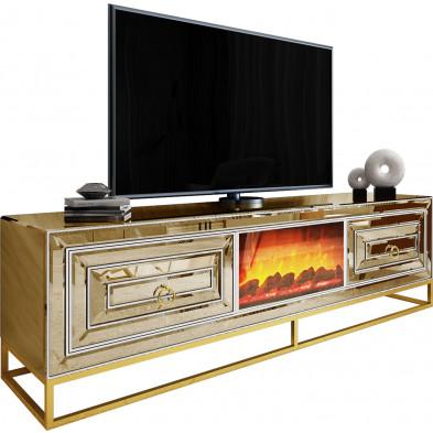 Meuble tv cheminée design 2 tiroirs en miroir bronze avec piètement en acier chromé doré L. 208 x P. 48 x H. 66 cm collection Monaco