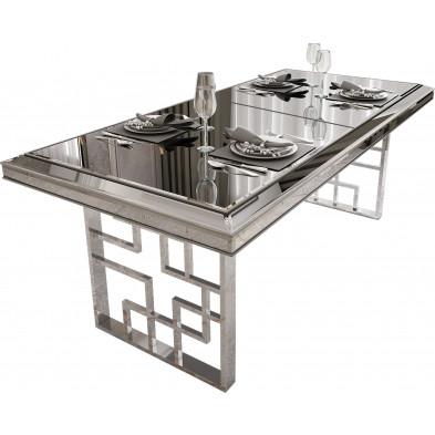 Table à manger design plateau en miroir gris avec  piètement en acier chromé argenté 200x95x76cm collection Monaco
