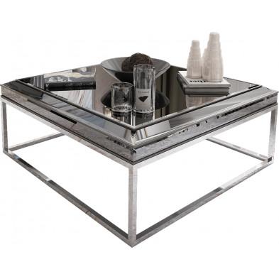 Table basse design plateau en miroir fumé avec piètement en acier chromé argenté 100x100cm collection Monaco