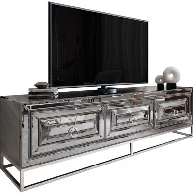 Meuble tv design 3 tiroirs en miroir fumé avec  piètement en acier chromé argenté L. 208 x P. 48 x H. 66 cm collection Monaco