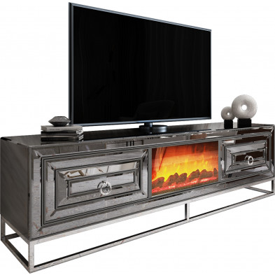 Meuble tv cheminée design 2 tiroirs en miroir fumé avec piètement en acier chromé argenté L. 208 x P. 48 x H. 66 cm collection Monaco