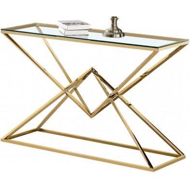 Console design piètement en acier inoxydable poli doré et plateau en verre trempé transparent  L. 120 x P. 40 x H. 78 cm collection PARMA