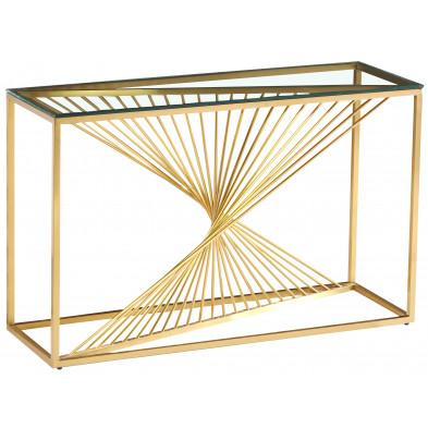 Console design piètement en acier inoxydable poli doré et plateau en verre trempé transparent  L. 120 x P. 40 x H. 78 cm collection BOLZANO