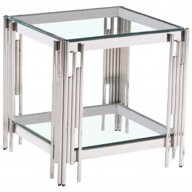 Table d'appoint design en acier inoxydable poli argenté et plateau en verre trempé transparent  L. 55 x P. 55 x H. 55 cm collection MILANO