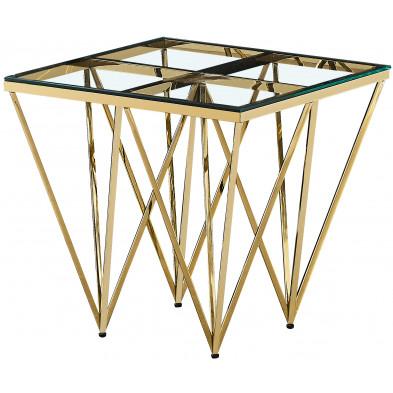 Table d'appoint design en acier inoxydable poli doré et plateau en verre trempé transparent  L. 55 x P. 55 x H. 52 cm collection VERONA