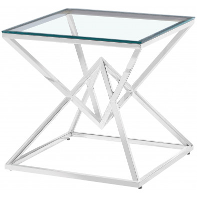 Table d'appoint design en acier inoxydable poli argenté et plateau en verre trempé transparent  L. 55 x P. 55 x H. 55 cm collection PARMA