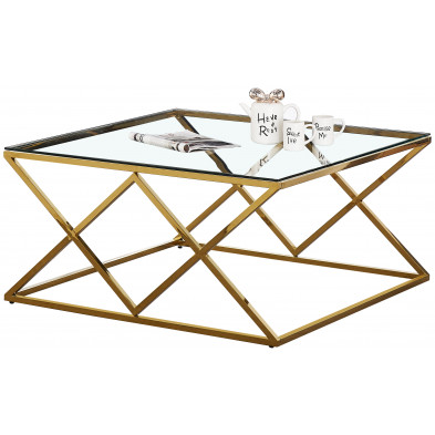 Table basse design carré en acier inoxydable poli doré et plateau en verre trempé transparent  L. 100 x P. 100 x H. 50 cm collection ROMA