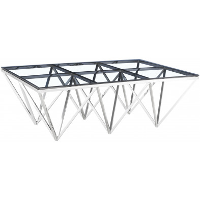 Table basse design en acier inoxydable poli argenté et plateau en verre trempé transparent L. 120 x P. 80 x H. 42 cm collection VERONA