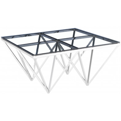 Table basse design carré en acier inoxydable poli argenté et plateau en verre trempé transparent L. 80 x P. 80 x H. 42 cm collection VERONA