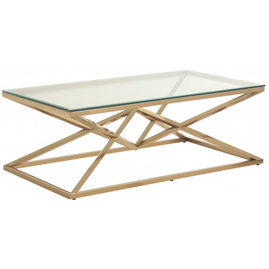 Table basse design en acier inoxydable poli doré et plateau en verre trempé transparent  L. 120 x P. 60 x H. 45 cm collection PARMA