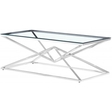 Table basse design en acier inoxydable poli argenté et plateau en verre trempé transparent L.120 x P. 60 x H. 45 cm collection PARMA