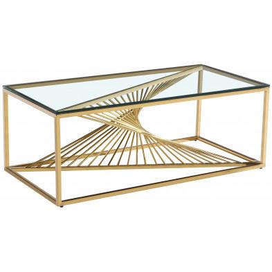 Table basse design en acier inoxydable poli doré et plateau en verre trempé transparent  L. 120 x P. 60 x H. 45 cm collection BOLZANO