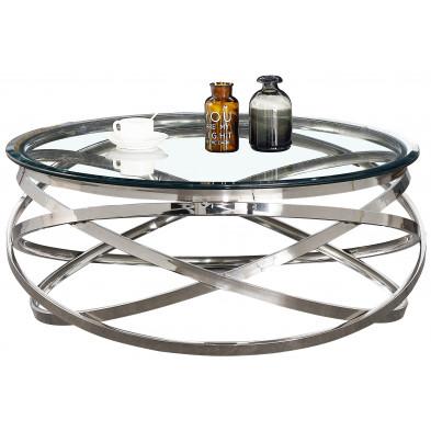 Table basse design rond avec piètement en acier inoxydable poli argenté et plateau en verre trempé transparent L. 100 x H. 43 cm collection ENRICO