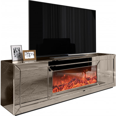 Meuble TV design en bois MDF et miroir coloris bronze  L. 200 x P. 45 x H. 63 cm collection Danilo