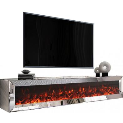 Meuble TV mural design en bois MDF et miroir coloris argenté  L. 200 x P. 45 x H. 40 cm collection Riccardo