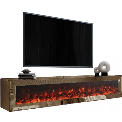 Meuble TV mural design en bois MDF et miroir coloris bronze L. 200 x P. 45 x H. 40 cm collection Riccardo