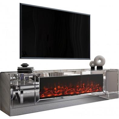 Meuble TV design en bois MDF et miroir coloris argenté  L. 200 x P. 45 x H. 55 cm collection Alonso