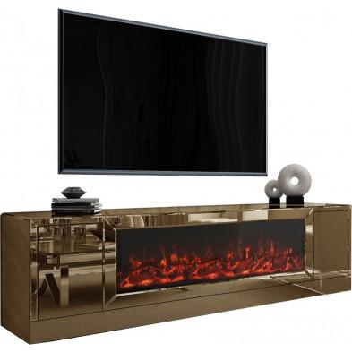 Meuble TV design en bois MDF et miroir coloris bronze L. 200 x P. 45 x H. 55 cm collection Alonso