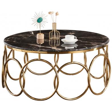 Table basse design en acier doré avec plateau en marbre noir L. 100 x P. 100 x H. 45 cm Collection BRUNO