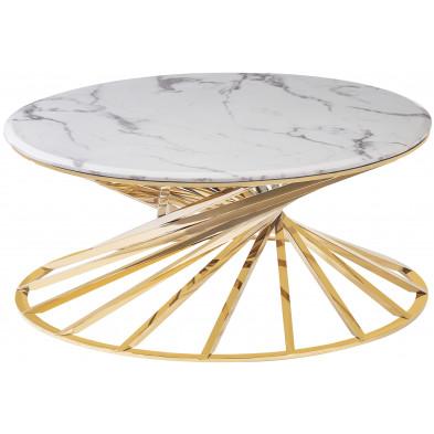 Table basse design plateau en marbre avec piètement en acier inoxydable poli collection ROMANI L. 100 x P. 100 x H. 43 cm