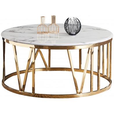 Table basse design plateau en marbre avec piètement en acier inoxydable poli collection MARINA L. 100 x P. 100 x H. 45 cm
