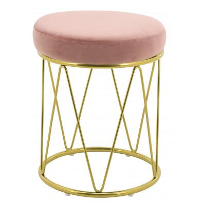 Pouf design revêtement velours rose avec piètement en acier doré collection PUFFY L. 35 x H. 44 cm