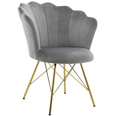 Chaise salle à manger design revêtement en velours gris avec piètement en acier doré collection CONRAD L. 45 x P. 44.5 x H. 84.5 cm