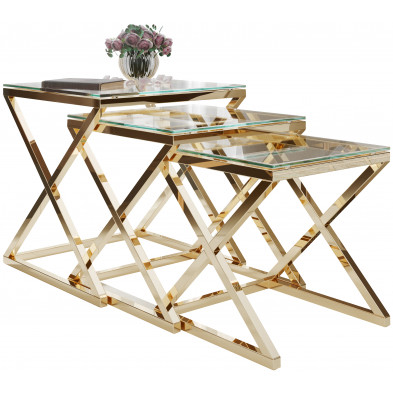 Ensemble de 3 tables gigognes design en acier inoxydable doré avec plateau en verre trempé transparent Collection Pesaro L. 35-40-45 x P. 35-40-45 x H. 36-41-46 cm