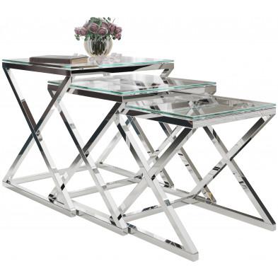 Ensemble de 3 tables gigognes design en acier inoxydable argenté avec plateau en verre trempé transparent Collection Pesaro L. 35-40-45 x P. 35-40-45 x H. 36-41-46 cm