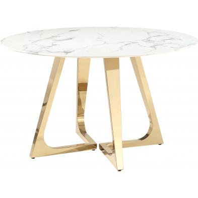 Table de salle à manger rond design avec un plateau en marbre artificiel blanc et un piètement en acier inoxydable poli doré Collection Veneta L. 130 x P. 130 x H. 76 cm