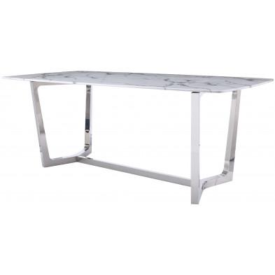 Table de salle à manger design avec un plateau en marbre artificiel blanc et un piètement en acier inoxydable poli argenté Collection Veneta L. 200 x P. 100 x H. 76 cm