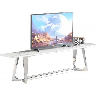 Meuble tv design avec un plateau en marbre artificiel blanc et un piètement en acier inoxydable poli argenté Collection Veneta L. 180 x P. 42 x H. 45 cm